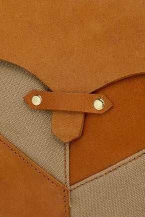 ANTIK BATIK Paneled leather, suede and canvas shoulder bag