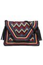 ANTIK BATIK Leather-trimmed woven shoulder bag