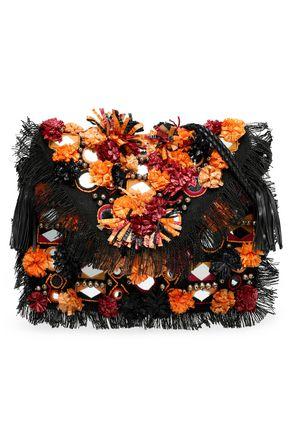 アンティック・バティック 装飾付き 編み込みラフィア ショルダーバッグ