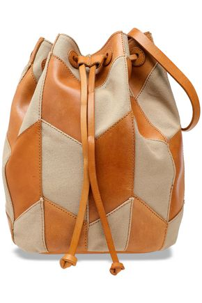 ANTIK BATIK Pietro two-tone leather and canvas bucket bag
