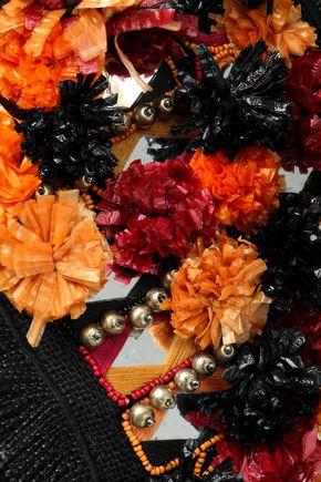 ANTIK BATIK Embellished woven jute tote