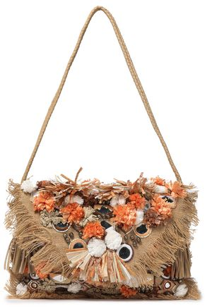 ANTIK BATIK Embellished woven raffia shoulder bag