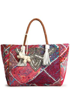 ANTIK BATIK Leather-trimmed embellished cotton tote