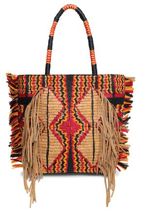 ANTIK BATIK Hedia fringed cotton, leather and raffia tote