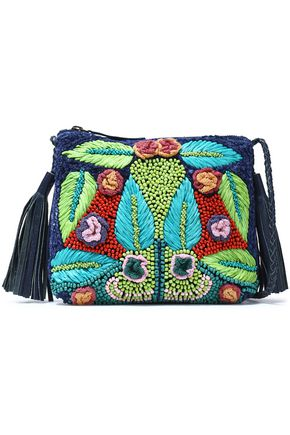 ANTIK BATIK Leather-trimmed embellished canvas shoulder bag