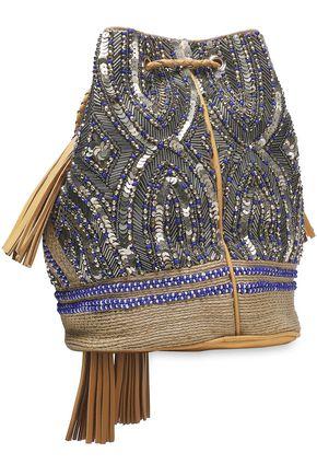ANTIK BATIK Pallas embellished cotton and leather shoulder bag
