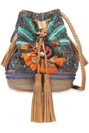 ANTIK BATIK Pallas embellished cotton and leather shoulder bag