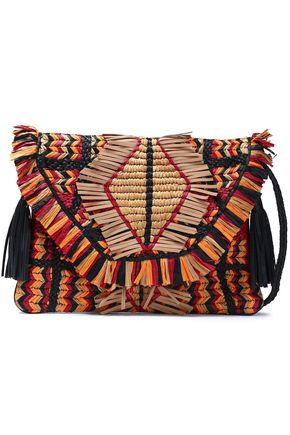 ANTIK BATIK Tasseled raffia and leather shoulder bag