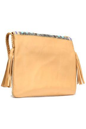 ANTIK BATIK Embellished woven and leather shoulder bag