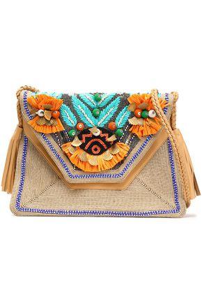アンティック・バティック 装飾付き 織地&レザー ショルダーバッグ