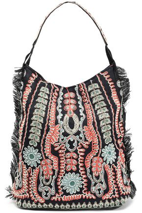 ANTIK BATIK Embellished embroidered woven jute and leather shoulder bag