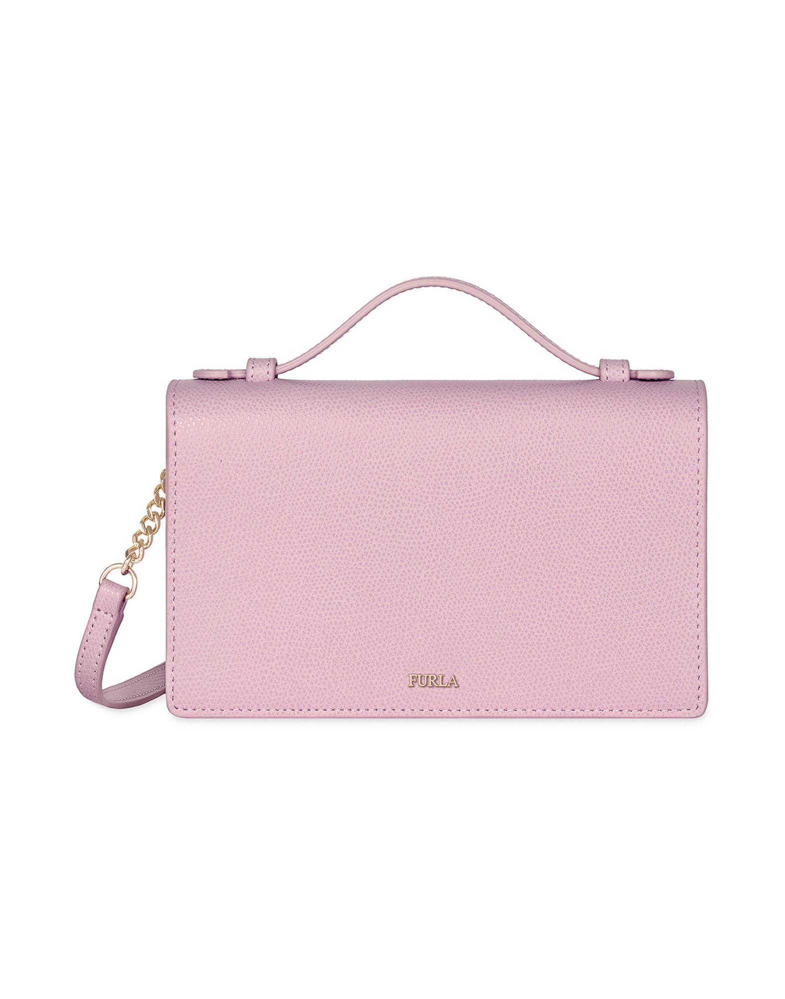 《送料無料》FURLA レディース ハンドバッグ ピンク 革 100% INCANTO CROSSBODY+CREDIT CARD