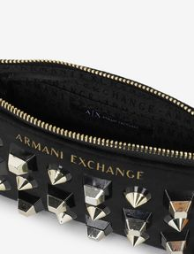 ARMANI EXCHANGE MIXED STUD LOGO WRISTLET Satchel bag [*** pickupInStoreShipping_info ***] e