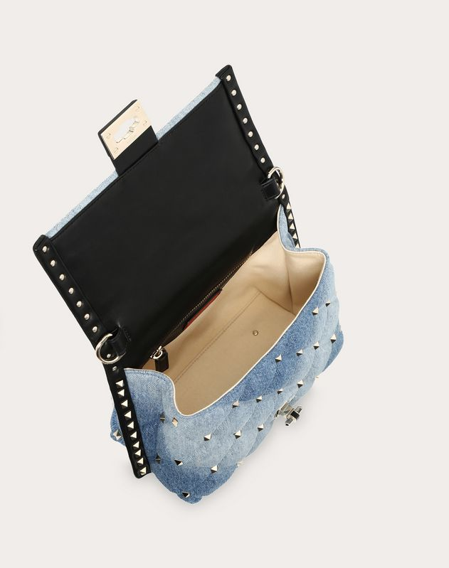 Medium denim Candystud top-handle bag