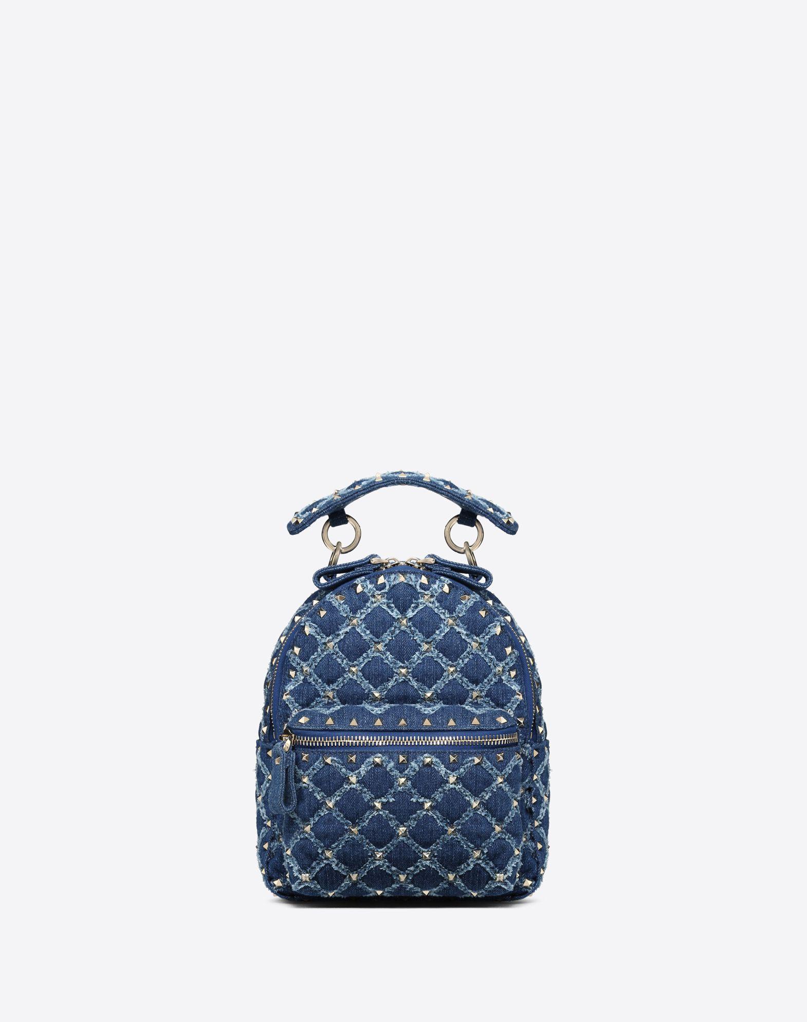 Mini Denim Rockstud Spike backpack