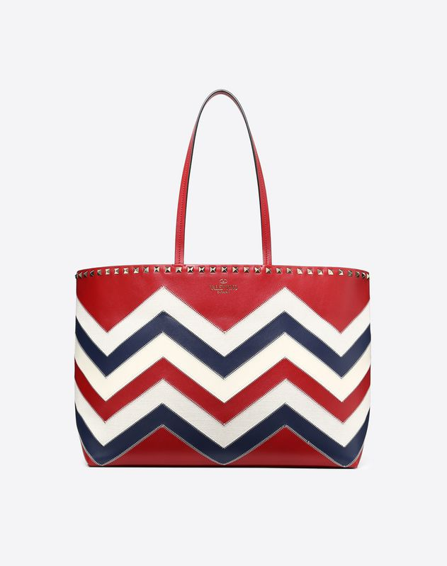 Large chevron motif Rockstud shopping bag