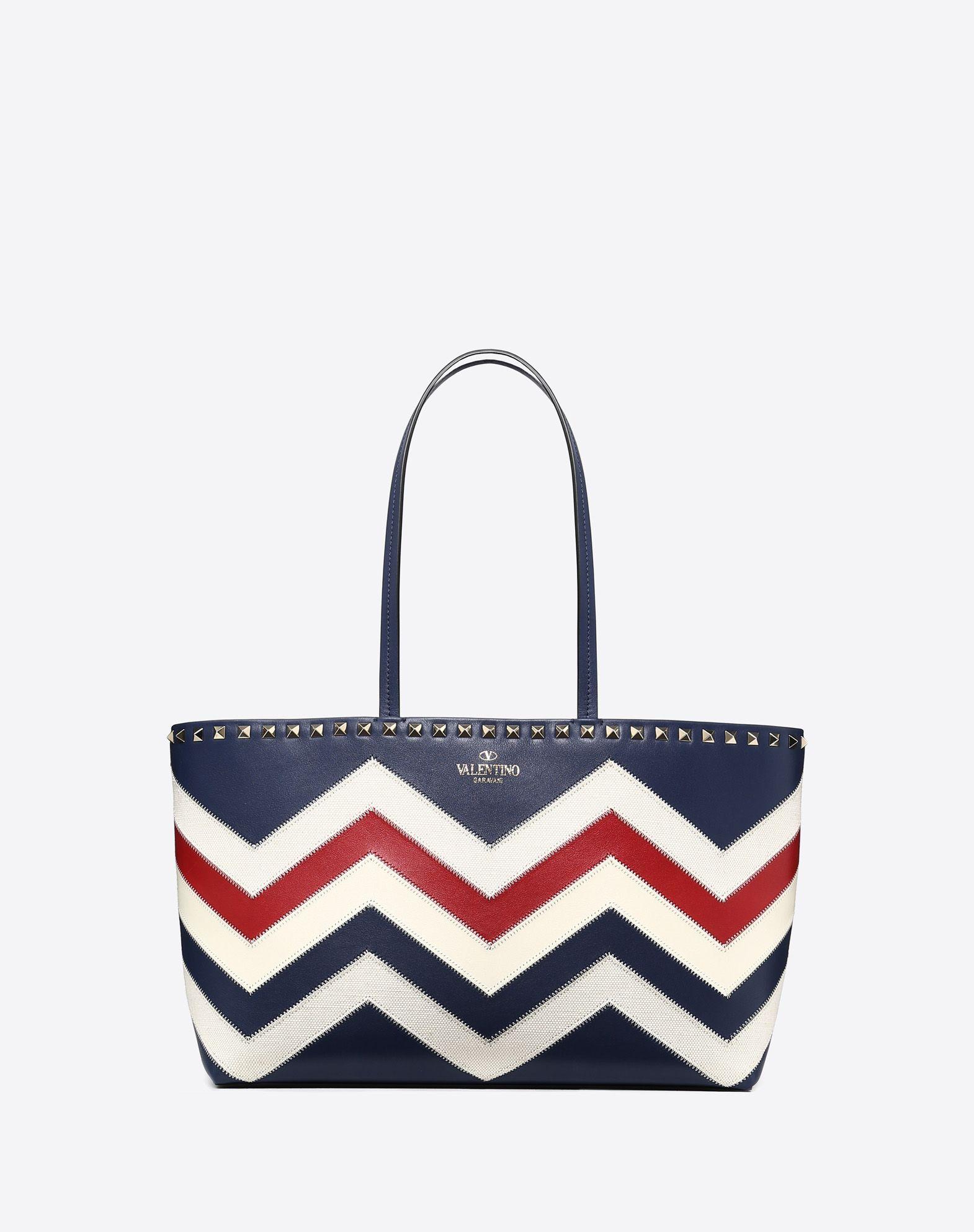 Small chevron motif Rockstud shopping bag