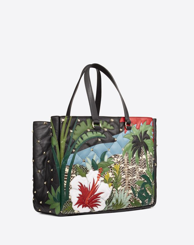 Large quilted Landscape inlay Boomstud top-handle bag