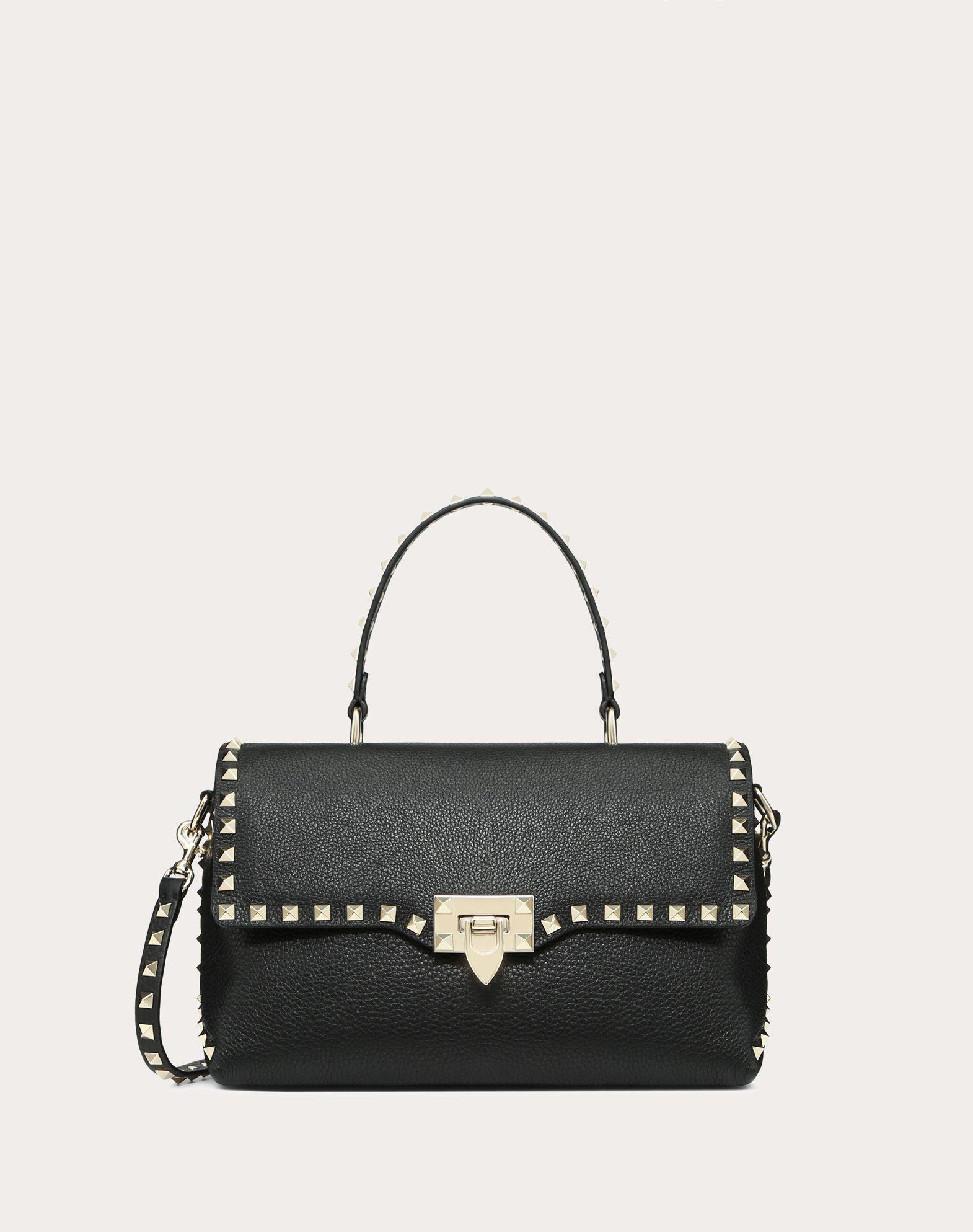 Mittelgroße Handtasche Rockstud aus genarbtem Kalbsleder