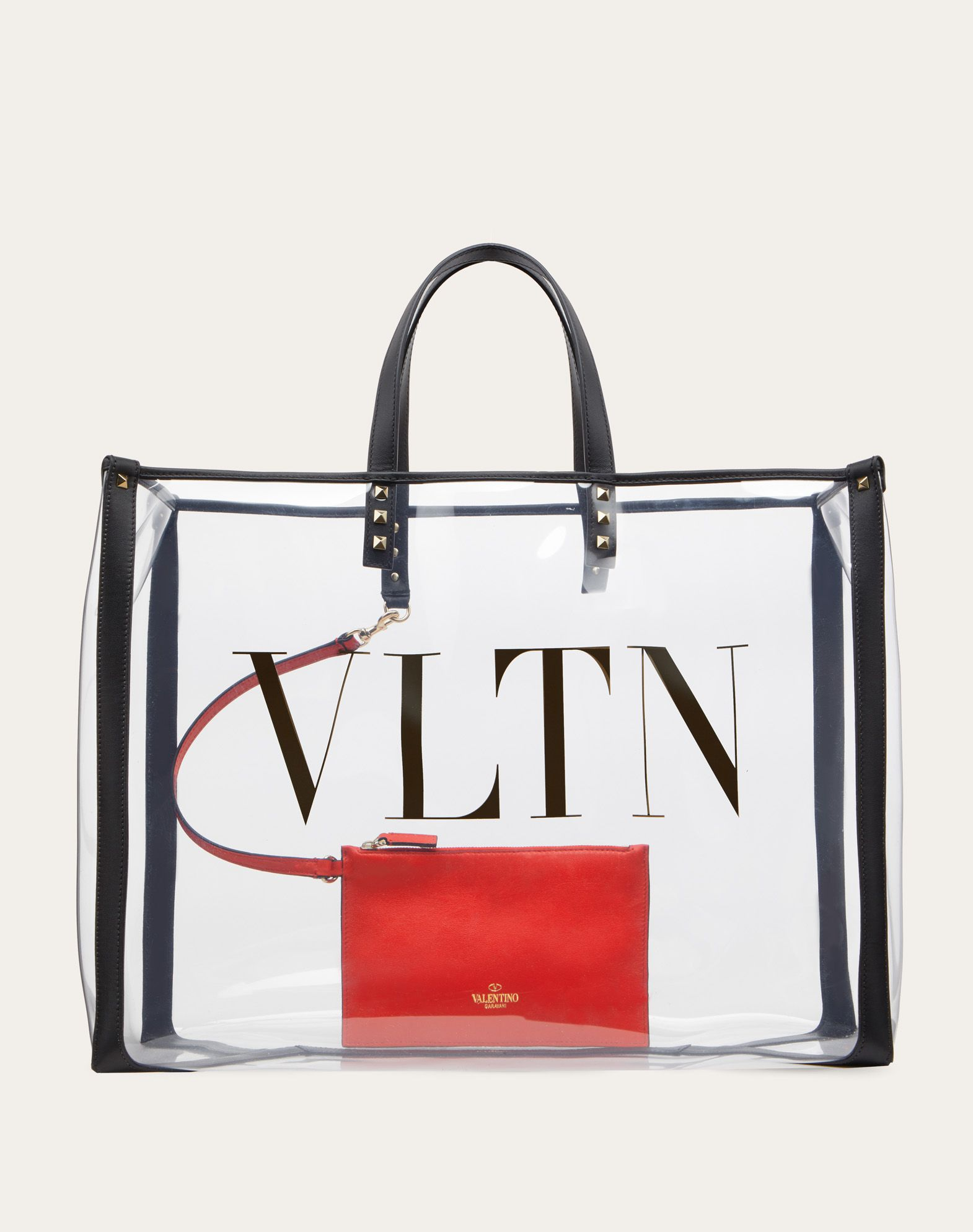 Small VLTN Print Transparent Tote Bag