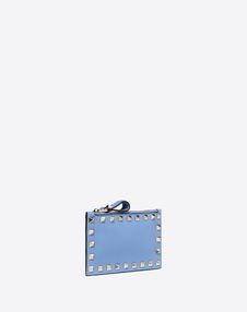 Rockstud Grainy Calfskin Coin Purse and Cardholder