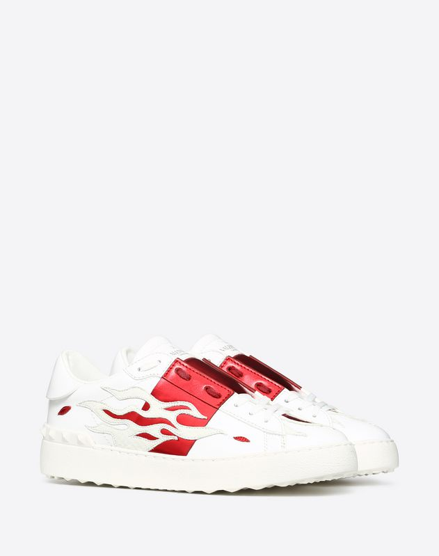 Open Sneaker with embroidered flames