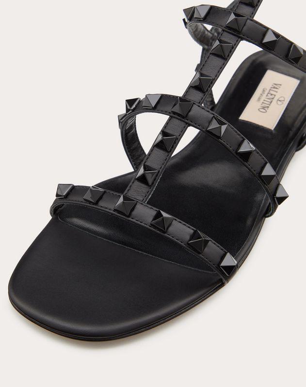 Lacquer Stud Rockstud Caged Flat Sandal