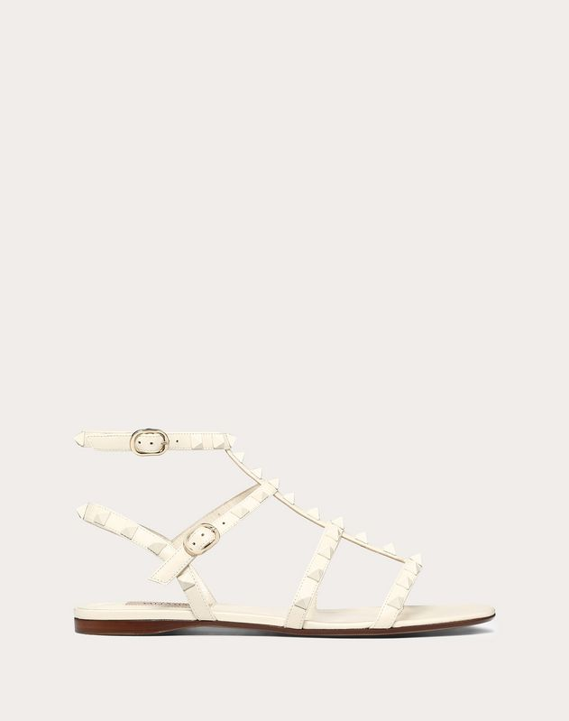 Lacquer Stud Rockstud Caged Flat Sandal