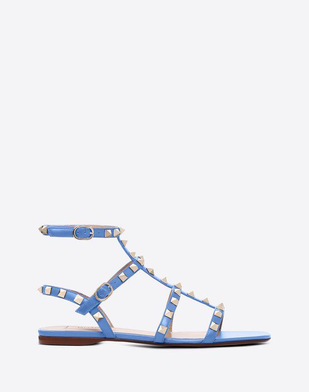 8ef93ff74f57 Rockstud Calfskin Ankle Strap Flat Sandal