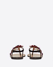 Velvet flat thong sandal with poppy embroidery