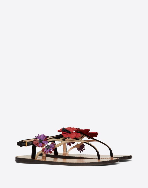 Velvet Flat Thong Sandal with Poppy Embroidery