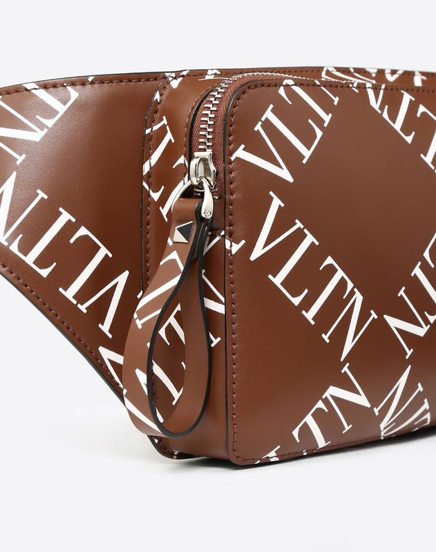LEATHER VLTN GRID BELT BAG