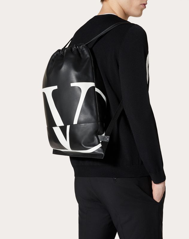 VLOGO CALFSKIN BACKPACK WITH DRAWSTRING