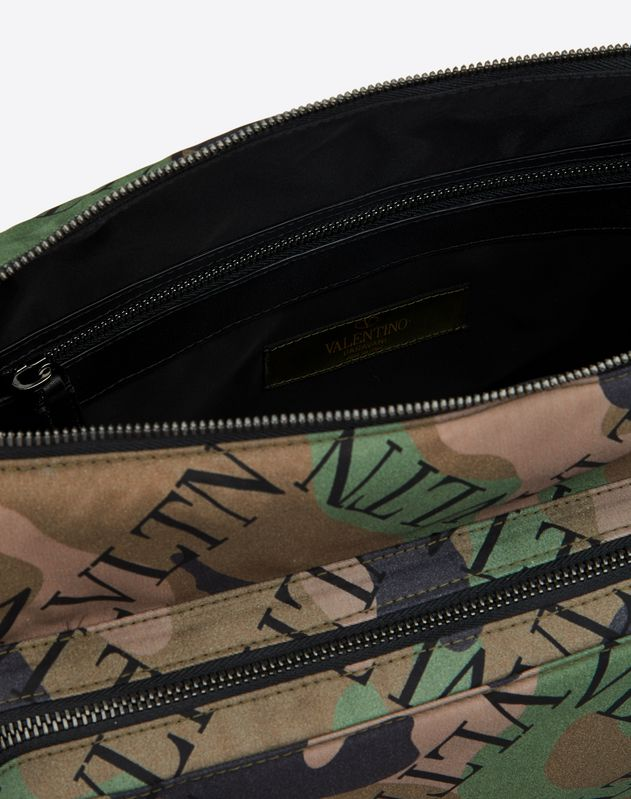 NYLON VLTN GRID CAMOUFLAGE MESSENGER BAG