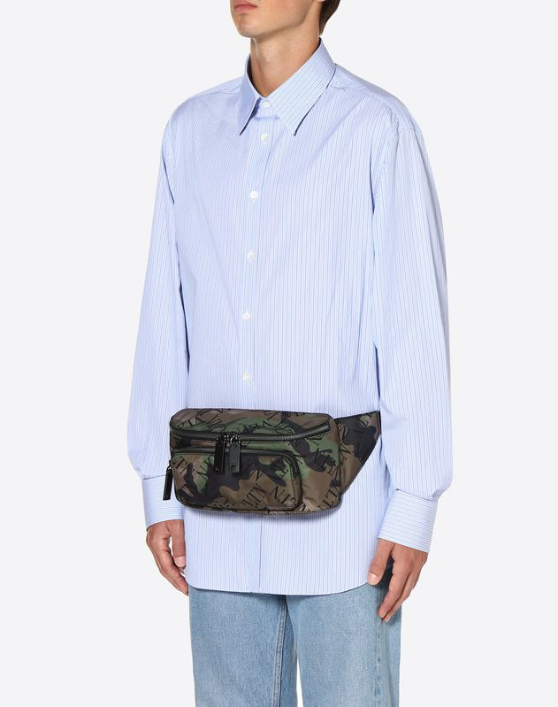 NYLON VLTN GRID CAMOUFLAGE BELT BAG