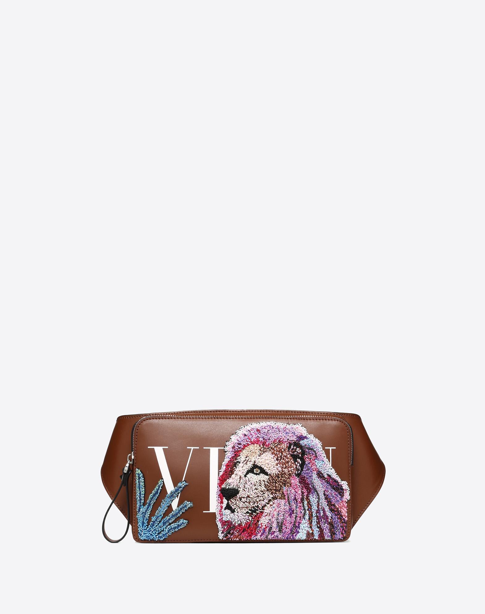 LEATHER VLTN BELT BAG WITH LION EMBROIDERY
