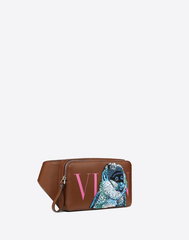 LEATHER VLTN BELT BAG WITH MONKEY EMBROIDERY