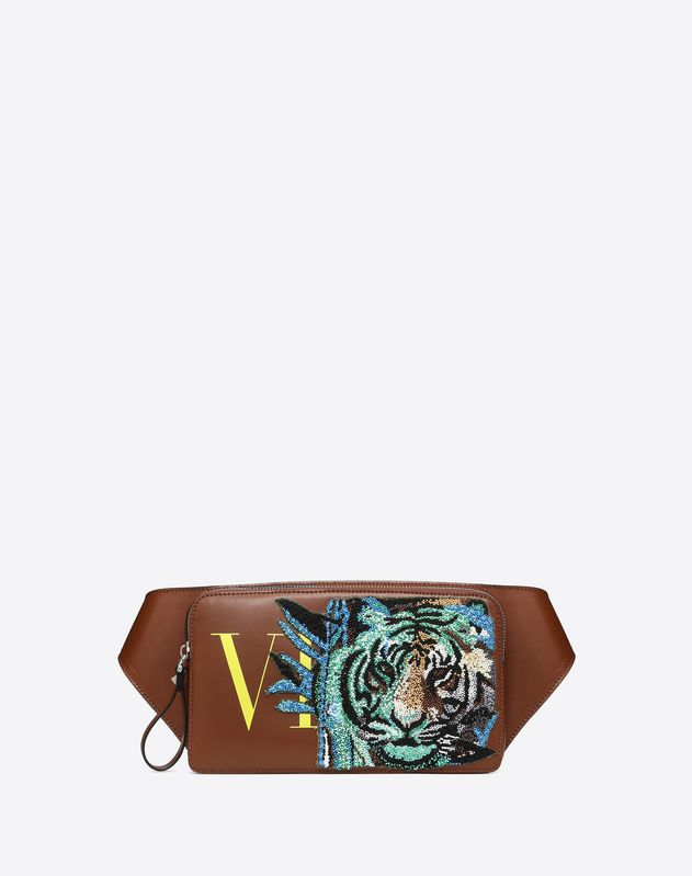 LEATHER VLTN BELT BAG WITH TIGER EMBROIDERY