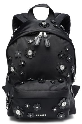 VERSUS VERSACE Floral-appliquéd shell backpack