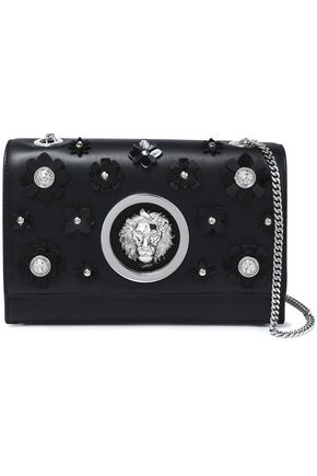 VERSUS VERSACE Floral-appliquéd leather shoulder bag