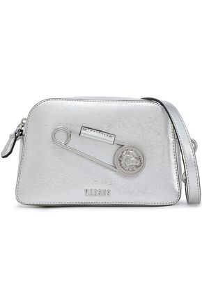 VERSUS VERSACE Embellished metallic textured-leather shoulder bag