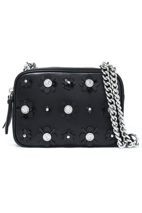 VERSUS VERSACE Floral-appliquéd embellished leather shoulder bag