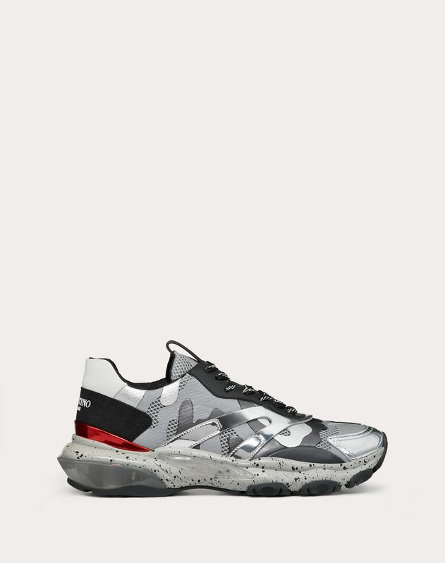 BOUNCE CAMOUFLAGE FABRIC AND METALLIC LEATHER SNEAKER