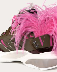 BOUNCE SNEAKER WITH VLTN LOGO AND REMOVABLE FEATHERS