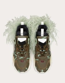 BOUNCE TRAINER WITH VLTN LOGO AND REMOVABLE FEATHERS