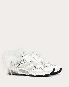BOUNCE CAMOUFLAGE SNEAKER WITH VLTN GRID AND FEATHERS