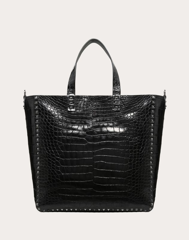 GRAIN CALFSKIN LEATHER ROCKSTUD REVERSIBLE TOTE