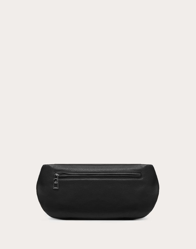 ROCKSTUD LEATHER BELT BAG WITH FRONT POCKETS