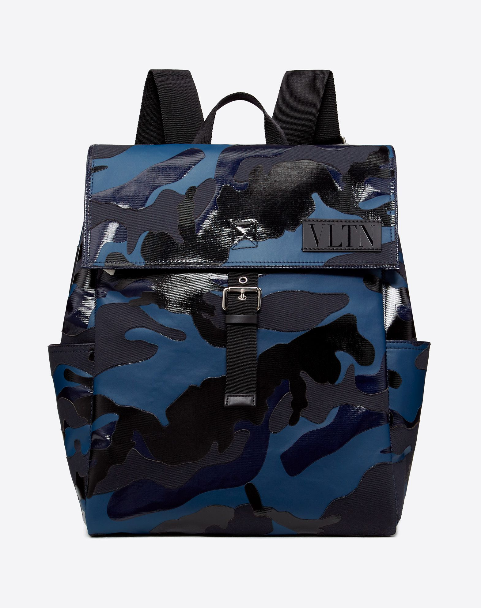 VLTN CAMOUFLAGE SHINY CANVAS BACKPACK