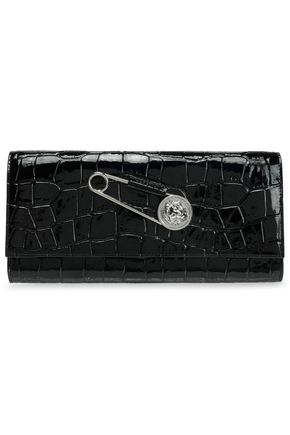 VERSUS VERSACE Embellished croc-effect leather clutch